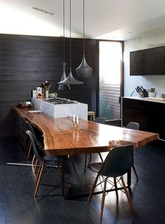 Live-edge table + black & wood eames chairs