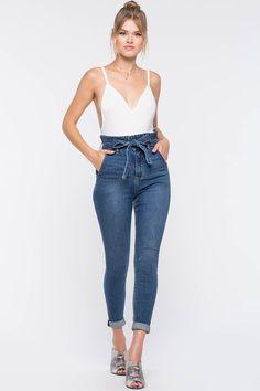 Women's Denim | Paperbag Waist Denim Pant | A'GACI Teen Fashion Outfits, Classy Outfits, Trendy Fashion, Casual Outfits, Fashion Dresses, Jeans Outfit Winter, Flattering Outfits, Denim Trends, Girls Pants