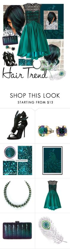 """""""Peacock Green Hair"""" by sheri-gifford-pauline ❤ liked on Polyvore featuring Giuseppe Zanotti, Ariella, Jessica McClintock, hairtrend, GREEN, peacock and rainbowhair"""