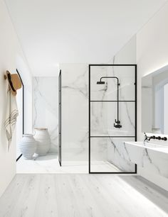 Bathrooms with white marble tiles are so luxurious looking and charming. Have a look at these bathroom decor ideas that can inspire you. Contemporary Bathroom Designs, Modern Bathroom, Small Bathroom, Bathroom Showers, Minimalist Bathroom, Master Bathroom, Bad Inspiration, Bathroom Inspiration, Bathroom Styling