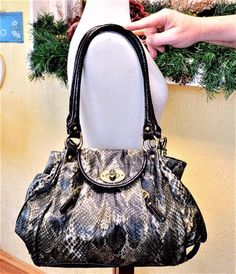 2107c91bd4bf Kathy Van Zeeland Shoulder Bag Handbag Khaki Multi Embossed Faux Leather  Snake  KathyVanZeeland  ShoulderBag