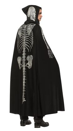 Adult Black Skeleton Cape With Hood Gothic Horror Halloween Cosplay LARP Unisex for sale online Halloween Cosplay, Halloween 2017, Black Cape, Gothic Horror, Cape Coat, Costume Accessories, Larp, Look Cool, Sexy Outfits