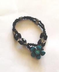 Button Bracelet-Turquoise Flower