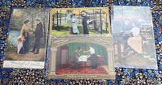 This is a set of 4 antique Edwardian era Romance real photopostcards dating 1900-1910s with humorous or romantic captions. Three of them have divided backs, on
