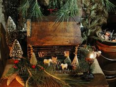 House in the woods Log Cabin Christmas, Primitive Country Christmas, Antique Christmas, Primitive Christmas, Christmas Love, Rustic Christmas, All Things Christmas, Winter Christmas, Christmas Crafts