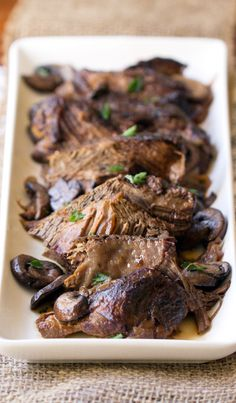 Crock Pot Beef Burgundy - This Gal Cooks. Tasty beef roast is seasoned, browned and slow cooked with red wine and onions to give you a hearty meal that the whole family will enjoy. Crock Pot Slow Cooker, Crock Pot Cooking, Slow Cooker Recipes, Crockpot Recipes, Cooking Recipes, Beef Burgundy Recipe, Beef Burgandy, Beef Shoulder Roast, Chicken Bites