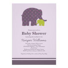 Mod elephant baby shower invitation kme g green elephant baby and elephant baby shower invitations purple green filmwisefo