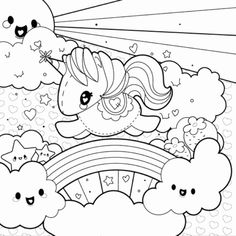 98 Best Coloring Pages - Unicorns & Rainbows images in 2019