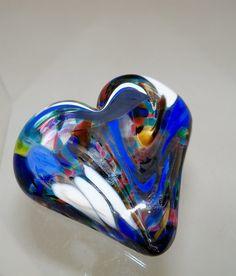 Glass heart paperweight $20