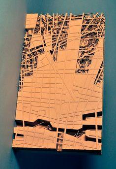 Amir Tomashov, Urban organism, concept model, 2010, Cardboard, MDF, 60cm x 34cm x 8cm