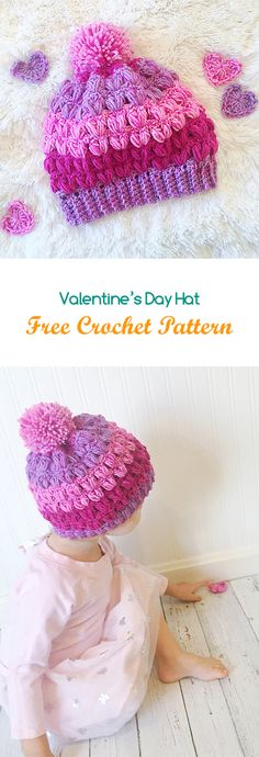 Valentine's Day Hat Free Crochet Pattern #crochet #yarn #crafts #fashion #style