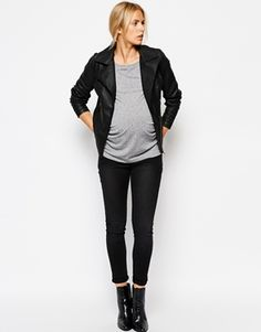 """Fall Maternity Must-Have: """"Mamalicious"""" biker jacket paired with skinnies! #style"""