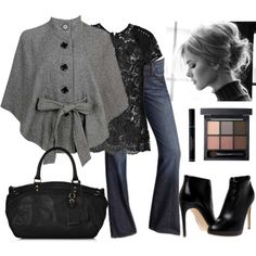 A fashion look from December 2009 featuring Markus Lupfer blouses, Forever 21 coats and Lucky Brand jeans. Browse and shop related looks. Mode Outfits, Fashion Outfits, Womens Fashion, Fashion Trends, Fashion Models, Fashion Tips, Casual Mode, Casual Chic, Casual Dressy