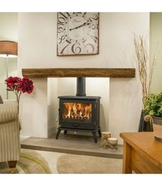 Newman Fireplaces Oak Effect Stone Beams - Bideford Oak Beam Fireplace, Log Burner Fireplace, Inglenook Fireplace, Fake Fireplace, Brick Fireplace Makeover, Wood Burner, Fireplace Mantle, Fireplace Surrounds, Fireplace Design