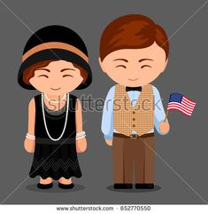 Americans in national dress with a flag. Man and woman in traditional costume. Travel to United States. People. Vector flat illustration.