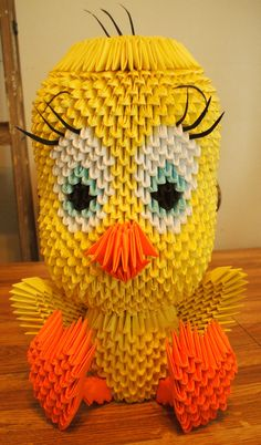 3D Origami Tweety That My Daughter Made For Sister Christmas