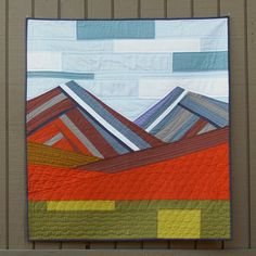 Modern Mountains contemporary wall quilt (Spotted Stone Studio)