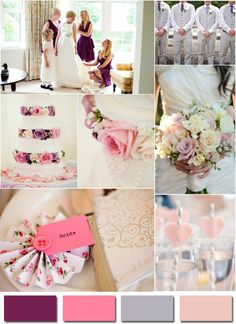 purple pink and gray inspired 2014 wedding color trends