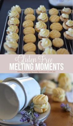 Delicious gluten free melting moments just like your grandma use to make. So easy with a perfectly buttery, sweet and crumbly melt in your mouth feel finished off with a hit of zesty lemon goodness. Gluten Free Biscuits, Gluten Free Cookie Recipes, Gluten Free Sweets, Gluten Free Cakes, Gluten Free Cooking, Gf Recipes, Sweet Recipes, Baking Recipes, Recipies