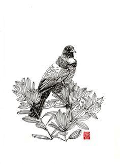 Tui - art by ArtSwastia Tui Bird, Forarm Tattoos, Nz Art, Kiwiana, Bone Carving, Bird Drawings, Fabric Patterns, Painting Inspiration, New Zealand