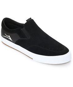 buy popular bde4f ea45d Lakai Owen VLK Black  amp  White Suede Skate Shoes Suede Skate Shoes, Slip  On