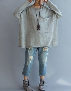 Large pocket sweater loose casual sweater Women by qinbailiang