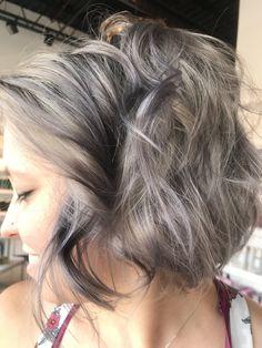 This bob cut and Grey color was created by Amanda Reynolds today. Curls Hair, Bob Cut, Amanda, Gray Color, Smile, Long Hair Styles, Grey, Beauty, Gray