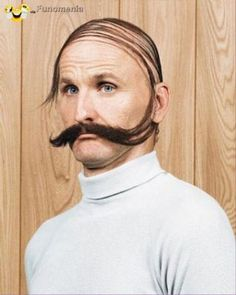 is that one sweet comb over to his lip? or one sweet moustache up and over his head? Combover Hairstyles, Pre Shampoo, Going Bald, Bald Men, Comb Over, Moustaches, Bad Hair Day, Beard Styles