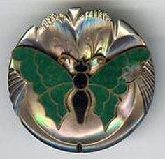 Large Enamel on MOP Button c.1900.