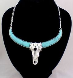 Vintage Western Silver and Blue Turquoise Skull Necklace