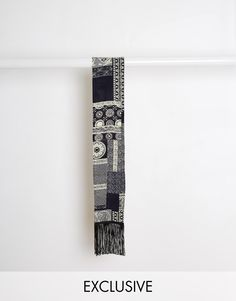 "Scarf by Reclaimed Vintage Smooth, printed fabric Wrap-around design Fringe trims Dry clean 100% Cotton Length: 140cm/55"" Width: 12cm/5"" Exclusive to ASOS"