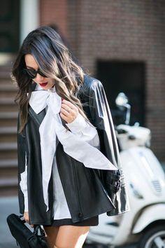 Worth New York :: Leather cape & Oversized bow blouse | Wendy's Lookbook | Bloglovin'