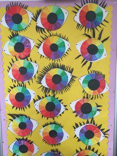 Colour wheel eye activity! 4th Grade Art, Grade 3, Art Lessons For Kids, Art For Kids, Color Wheel Projects, Color Wheel Art, Elements Of Color, 5th Class, Thing 1