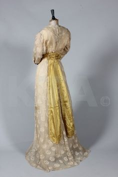 Summer dress by Neville of London, 1911-12 London Click to go to the absentee bidding page. This Kerry Taylor auction will end October 16th at 10:30 AM GMT (5:30 AM EST). You will need to register to bid ahead of time.