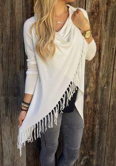Comfy Weekend Fashion! White Irregular Hem Tassel Long Sleeve Cardigan Sweater #Cozy #White #Fringe #Cardigans #Sweaters #Tops