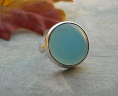Bezel ring  Blue ring  Round ring  Chalcedony ring  by Studio1980