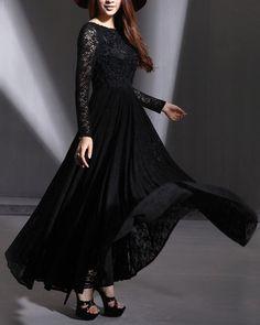 Long Sleeved Black Maxi Dress  Long Sleeved White by DressStory, $139.99