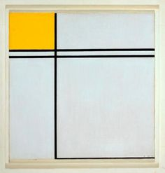 'Composition with Double Lines & Yellow', 1932 Piet Mondrian. This is 1 of earliest of his 'tram-line' paintings. Before 1932 he had used single lines but he began pairing them to achieve a sense of optical movement. He also began to extend the colored areas over the edge of the canvas. In this painting, he created a perfect balance between the color & the horizontal & vertical lines, so that no one element dominated.
