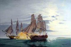 Revolutionary War battle between the American 'Bonhomme Richard' and the British H.M.S. Serapis