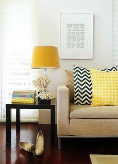 navy & yellow pillows
