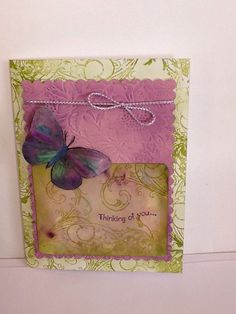 Hand made cards:  Butterfly cards purple  green  i miss by Wcards