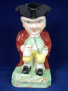 Late Victorian Staffordshire Sitting Man Toby Jug