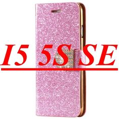 Glitter Golden Bling Sand Leather Case For Apple iphone 6 6S/Plus 5.5 Wallet Stand Card Slot Rhinestone Diamond Cover For 5S SE