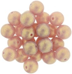 5-08-MSG71010 Round Beads 8mm : Sueded Gold Milky Pink
