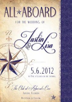 All Aboard  Nautical Wedding Invitation by ShannonFrezzaInvites, $50.00