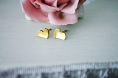Sweet+Heart+brass+stud+earrings+small+by+LisaM55Studio+on+Etsy