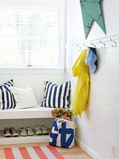 Maintain an Efficient, Orderly Entryway Don't let disorder take over your entryway. Keep it tidy and inviting with these effective design ideas and smart entryway storage solutions. Entryway Storage, Entryway Organization, Entryway Decor, Entryway Hooks, Bench Storage, Organized Entryway, Shoe Storage, Entryway Bench, Dining Room Wainscoting