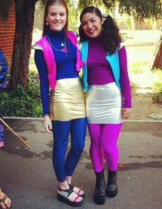 To be Zenon: Girl of the 21st Century, you need a pink bodysuit and blue vest and miniskirt — topped off with pigtails!