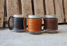 Leather Travel Mug Mason Jar Leather Cup Cozy Handmade