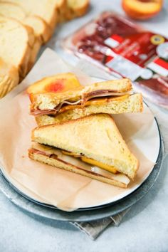 My Peach Ham Grilled Cheese Sandwich is the ultimate gourmet grilled cheese and absolutely delicious! This grilled cheese sandwich is next level! Fresh Ham, Grill Cheese Sandwich Recipes, Best Grilled Cheese, Grilled Peaches, Lunch To Go, Artisan Bread, Lunch Recipes, Sandwiches, Yummy Food